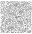 cartoon set donuts objects and symbols vector image vector image