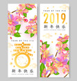 chinese new year zodiac pig and spring festival vector image vector image