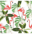 colorful floral pattern with flamingo and exotic vector image vector image
