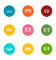 crustacean icons set flat style vector image