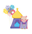 cute circus bear with layer and balloons helium vector image