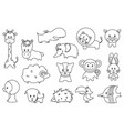 cute wild and domestic animals cartoon stickers or vector image
