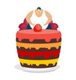 fat guy is sitting on chair and cake glutton vector image
