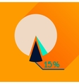 Flat icon with long shadow percent chart vector image vector image
