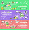 flat line art farming banner set vector image