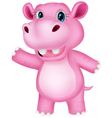 Funny cartoon hippo waving vector image