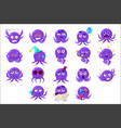 funny octopus character emoji set vector image vector image