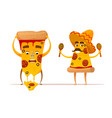 funny pizza slices characters vector image vector image