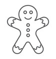 gingerbread man thin line icon christmas vector image vector image