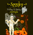 halloween night party poster with spooky monsters vector image vector image