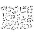 hand drawn arrows doodle curved arrow handmade vector image vector image