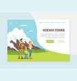 Hiking tou banner landing page template happy