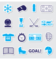ice hockey sport blue stickers set eps10 vector image vector image