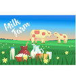 landscape with two cows and milk products on the vector image vector image