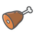 leg of ham filled outline icon food and drink vector image