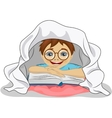 Little boy reads a book in bed under blanket vector image vector image