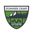 outdoor summer camp vintage isolated badge vector image vector image