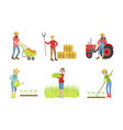 people working on farm and garden set male and vector image