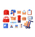 post office symbols set vector image