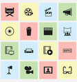 set of 16 editable movie icons includes symbols vector image vector image