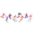 skiers and snowboarders winter sport activities vector image vector image