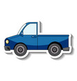 sticker template with a blue pick up car isolated vector image
