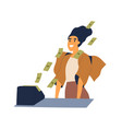 successful woman with cash flow from calculating vector image