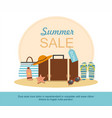 suitcase and beach accessories on island vector image vector image