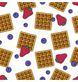 sweet dessert and fruit seamless pattern cartoon vector image