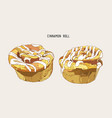 traditional homemade cinnamon rolls sketch vector image vector image