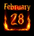 twenty-eighth february in calendar of fire icon vector image vector image