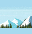 winter snowy mountain hill fir tree forest vector image vector image