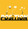 word concept position and people doing activities vector image