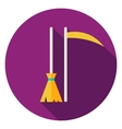 Broom and Scythe Circle Icon vector image