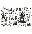 halloween objects set vector image