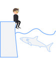 a shark wants to eat a man a diver sits on the vector image vector image
