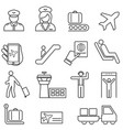 airport and aviation line icons vector image vector image