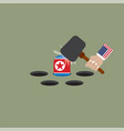 america trying to hit the north korean flag vector image vector image