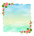 An empty blue template with carnation pink flowers vector image vector image