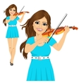 Beautiful young woman playing violin vector image