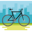 bicycle vehicle with cityscape background vector image vector image