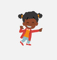 black girl pointing to something funny on his left vector image