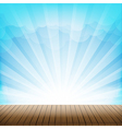 Brown wood floor texture and cloud blue sky vector image vector image
