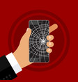 businessman holding broken phone vector image vector image