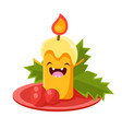 candle cheerful christmas card vector image vector image