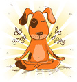 Cartoon red dog sitting on lotus position of yoga vector image vector image