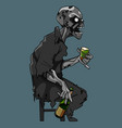 cartoon scary zombie sitting on a chair with a vector image vector image