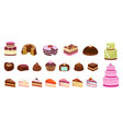cartoon sweets cake candy chocolate biscuit vector image vector image
