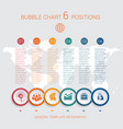 charts infographic step by step 6 positions vector image