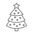 christmas tree thin line icon xmas and decoration vector image vector image